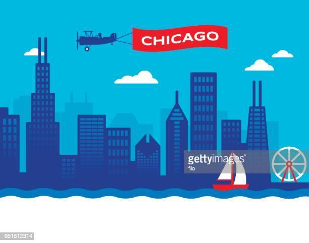 chicago skyline - carnival ride stock illustrations, clip art, cartoons, & icons