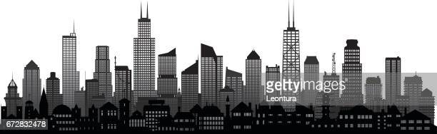 chicago skyline (buildings are moveable and complete) - chicago loop stock illustrations, clip art, cartoons, & icons