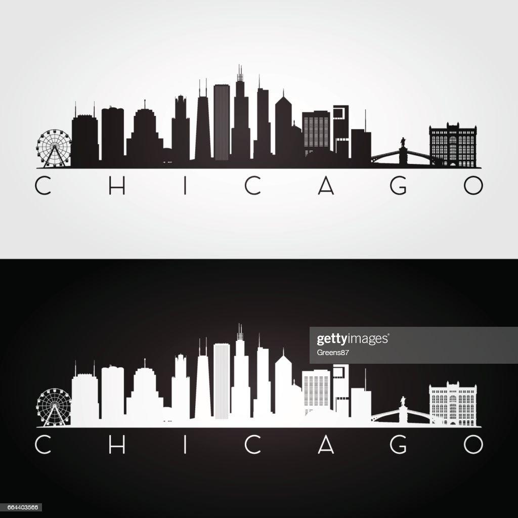 Chicago USA skyline and landmarks silhouette