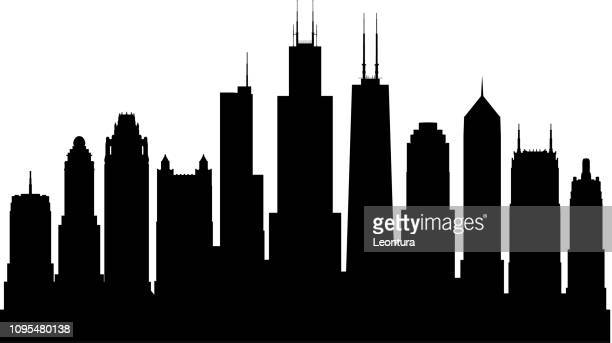 chicago (all buildings are complete and moveable) - skyline stock illustrations