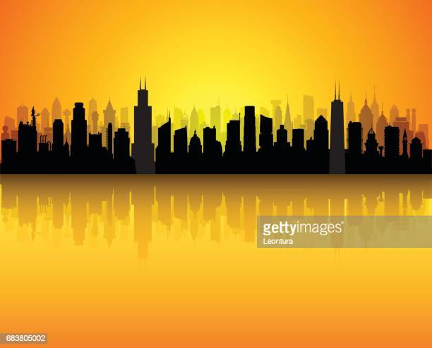 chicago (all buildings are complete and moveable) - chicago loop stock illustrations, clip art, cartoons, & icons