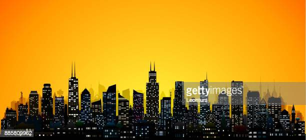 chicago (all buildings are complete and moveable) - chicago stock illustrations, clip art, cartoons, & icons
