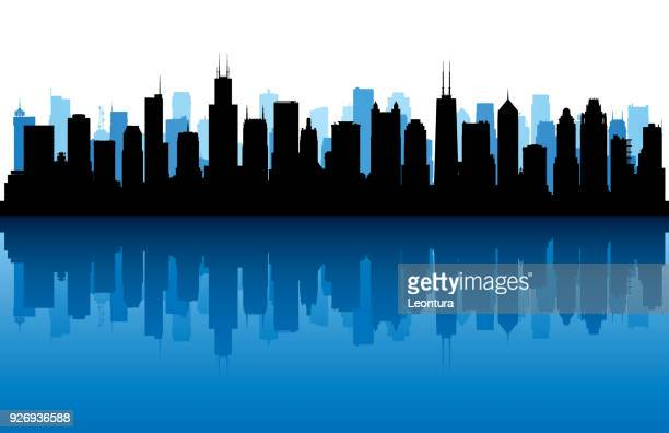chicago (all buildings are complete and moveable) - skyscraper stock illustrations
