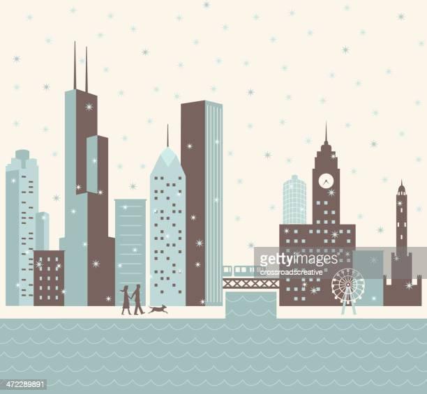 chicago winter - chicago stock illustrations, clip art, cartoons, & icons