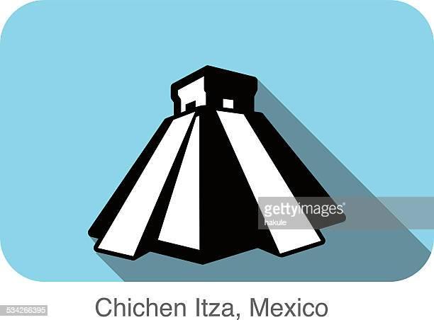 Chichen Itza,Mexico, landmark flat icon