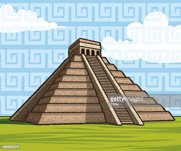 chichen itza´s kukulkan mayan pyramid - ancient civilization stock illustrations, clip art, cartoons, & icons