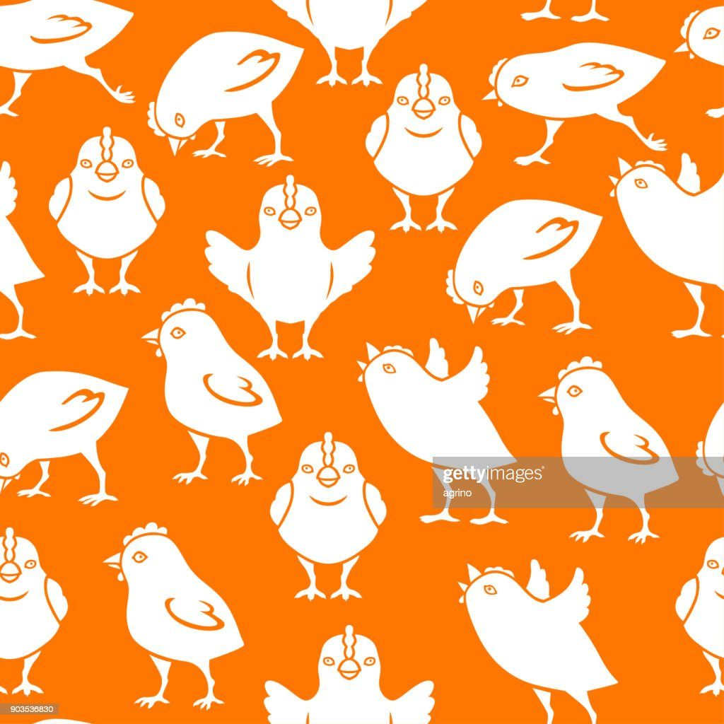Chick silhouettes pattern seamless on orange background