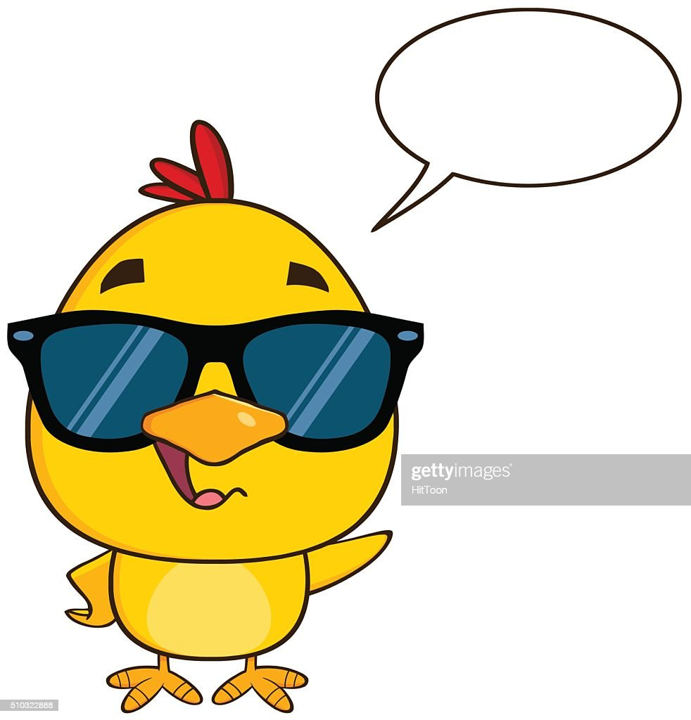 Chick Wearing Sunglasses Waving With Speech Bubble