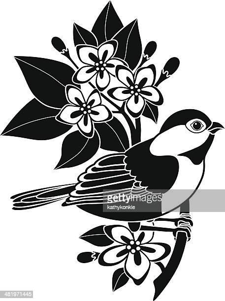 chickadee and mayflowers - hawthorn,_victoria stock illustrations