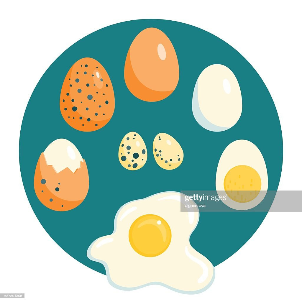 Chicken and quail eggs, raw, boiled, fried