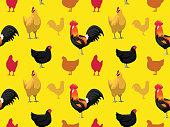 Chicken Australorp Cartoon Seamless Wallpaper