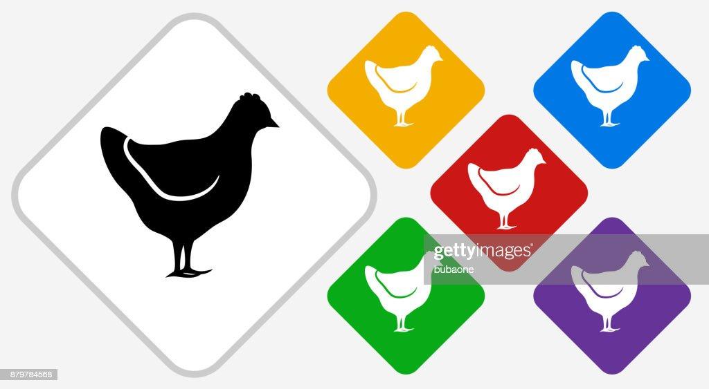 Chicken Color Diamond Vector Icon