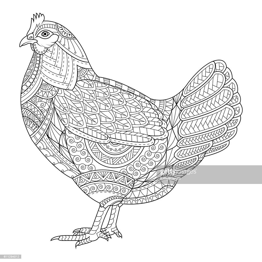 Chicken Coloring Book For Adult Stock-Illustration - Getty ...