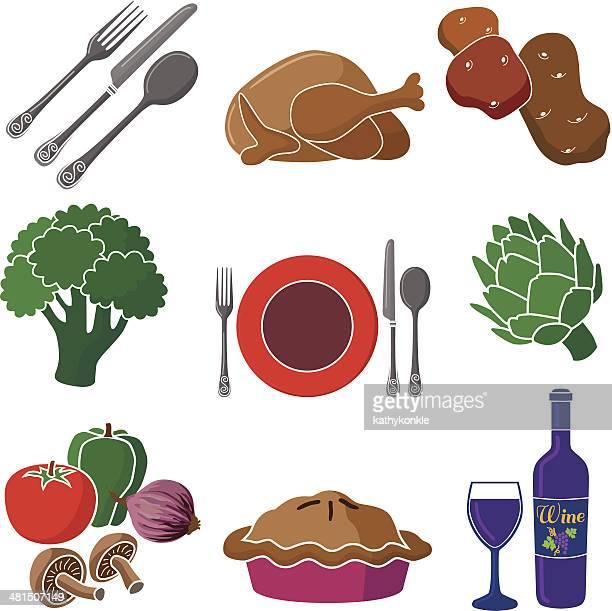 ilustraciones, imágenes clip art, dibujos animados e iconos de stock de conjunto de iconos de pollo la cena - pollo asado