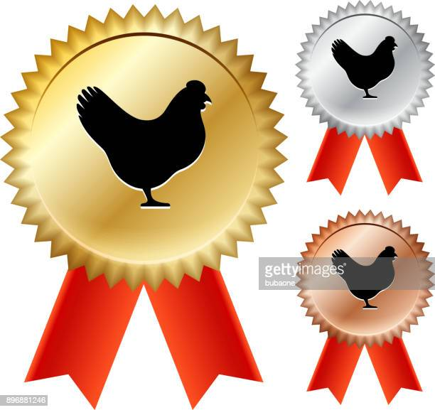 Chicken Gold Medal Prize Ribbons