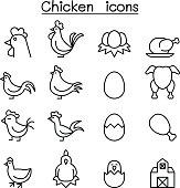 Chicken icon set in thin line style