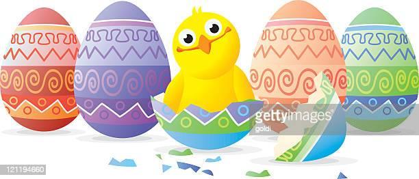 Huhn in easter egg