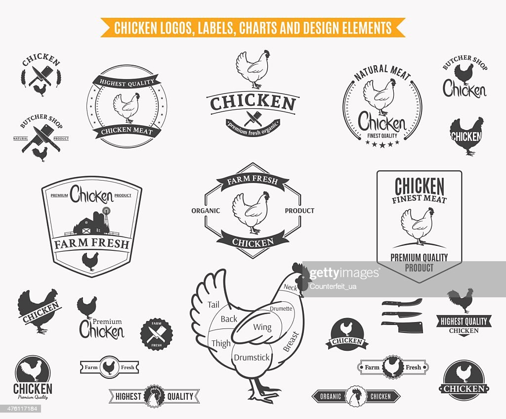 Chicken  Labels, Charts and Design Elements
