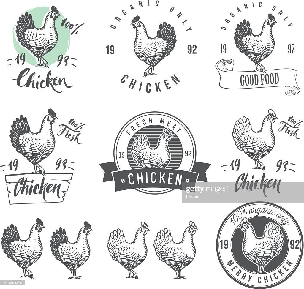 Chicken product logotypes set. Badges design elements for the chicken