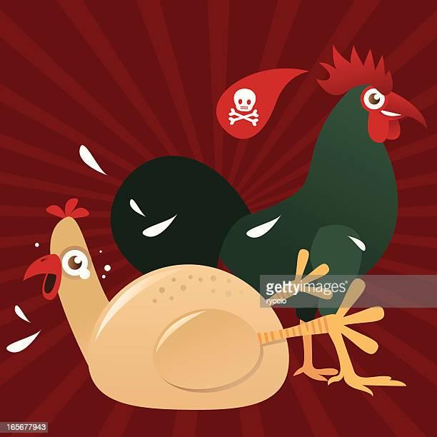 chicken versus cock - cockerel stock illustrations, clip art, cartoons, & icons