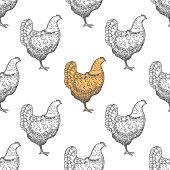 Chicken vintage engraved illustration seamless pattern background. Vector