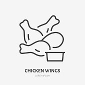 Chicken wings with sauce flat line icon. Vector thin sign of fast food cafe logo. Snack illustration for restaurant menu