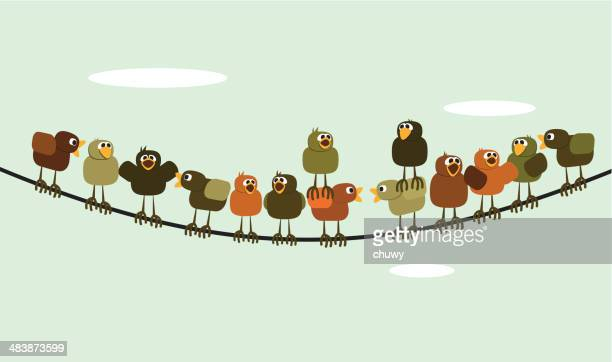 chickens meeting - telephone line stock illustrations, clip art, cartoons, & icons