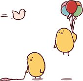 Chicks carrying balloons