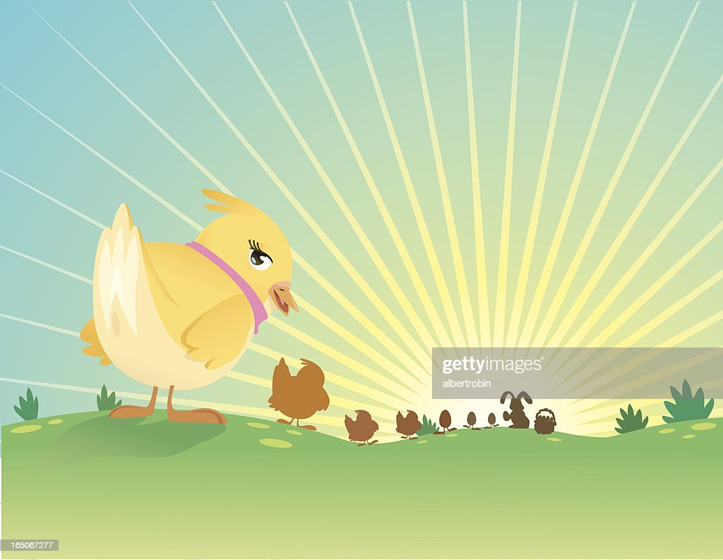 chicks, eggs, and bunny : stock illustration