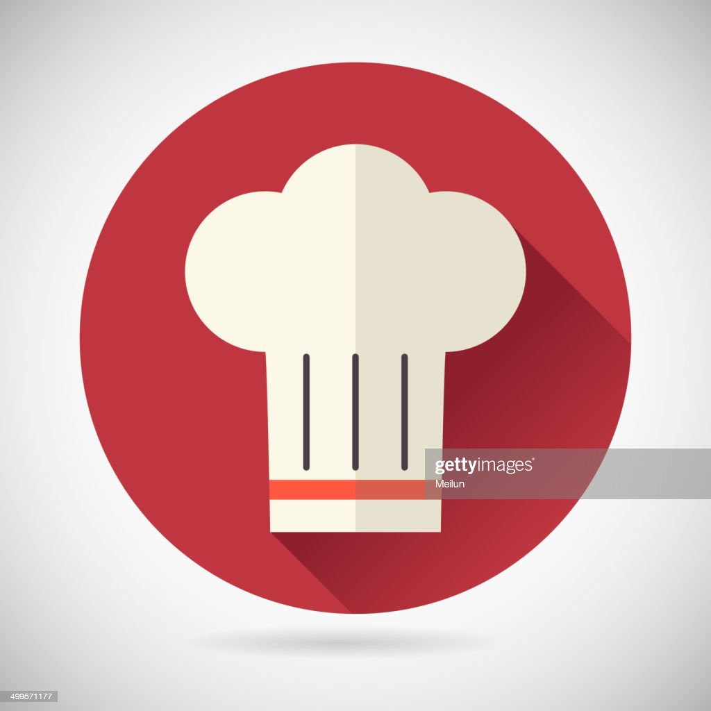 Chief Cook Symbol Toque Cuisine Food Icon on Stylish Background