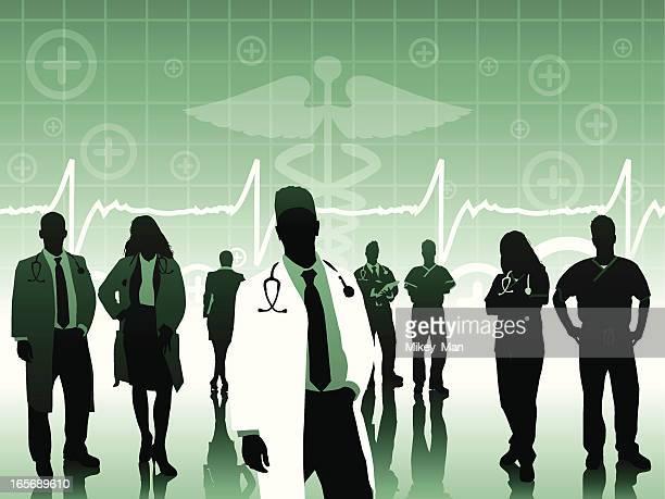 ilustraciones, imágenes clip art, dibujos animados e iconos de stock de cirujano en bata de laboratorio que el equipo - asistente de enfermera