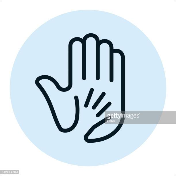 child and adult hand in hand - pixel perfect single line icon - child care stock illustrations