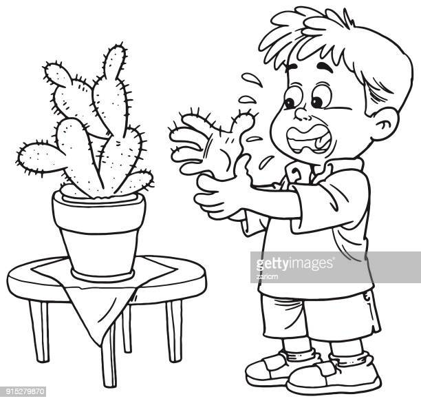 child and cactus
