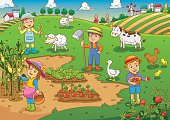 child and pet in thefarm cartoon