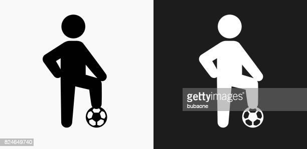 Child and Soccer Ball Icon on Black and White Vector Backgrounds