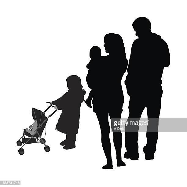 Child And Stroller Family Silhouette Vector