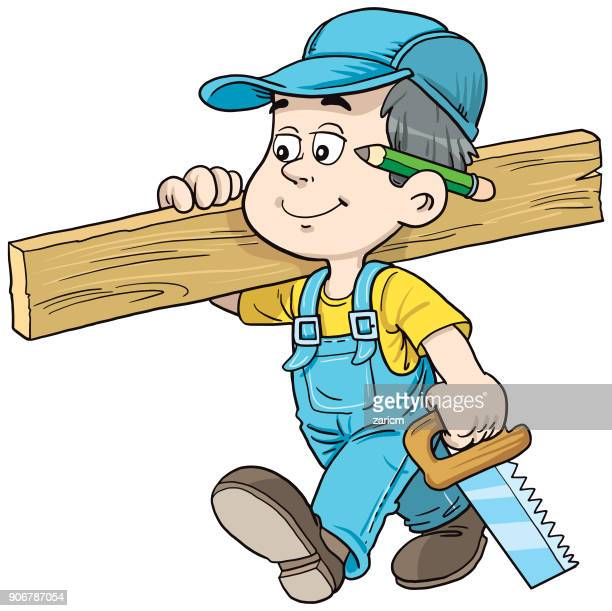 child as a carpenter - carpentry stock illustrations