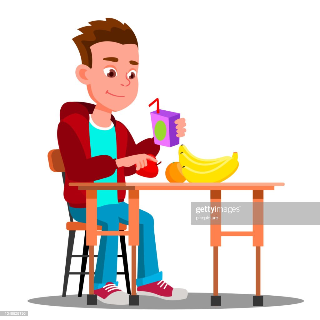Child At The Dinner Table With Fruit And Juice In Hand Vector. Food. Isolated Illustration
