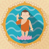 Child Buddha over a Lotus in Flat Style
