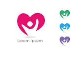 Child care center logo, charity and support vector concept, orphans in heart icon, love and happy life vector illustration.