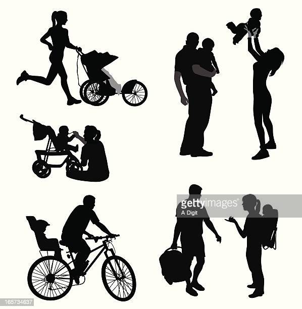 child care vector silhouette - three wheeled pushchair stock illustrations, clip art, cartoons, & icons