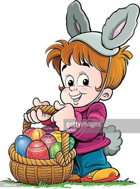 child carrying easter eggs - easter bunny costume stock illustrations, clip art, cartoons, & icons