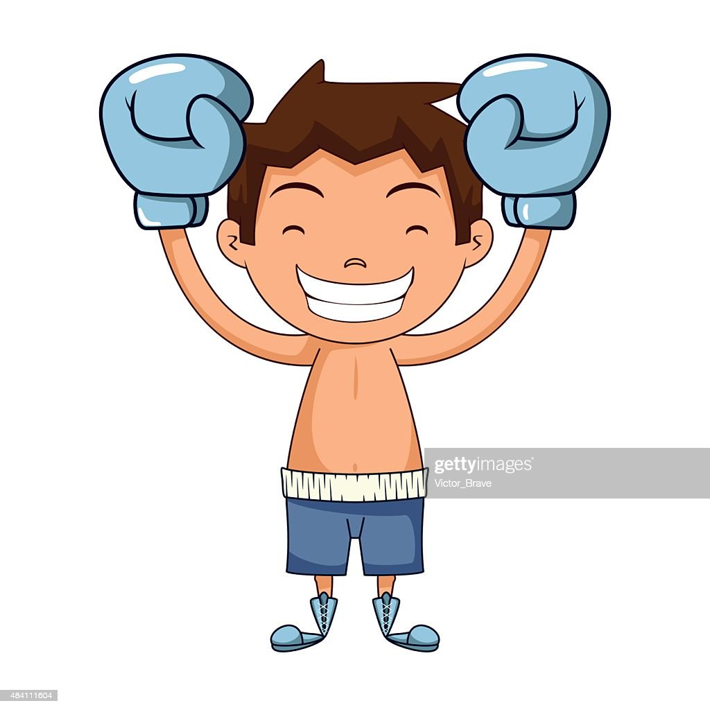 Child champion gesture, boxing