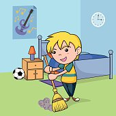 Child cleaning the bedroom