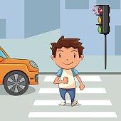 Child crossing street
