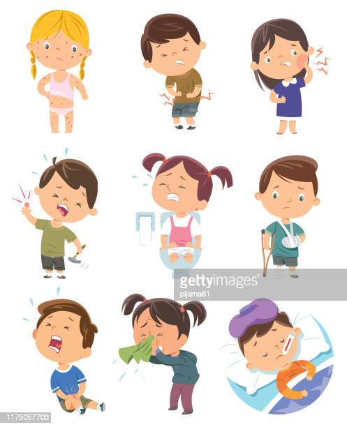 child diseases - illness stock illustrations