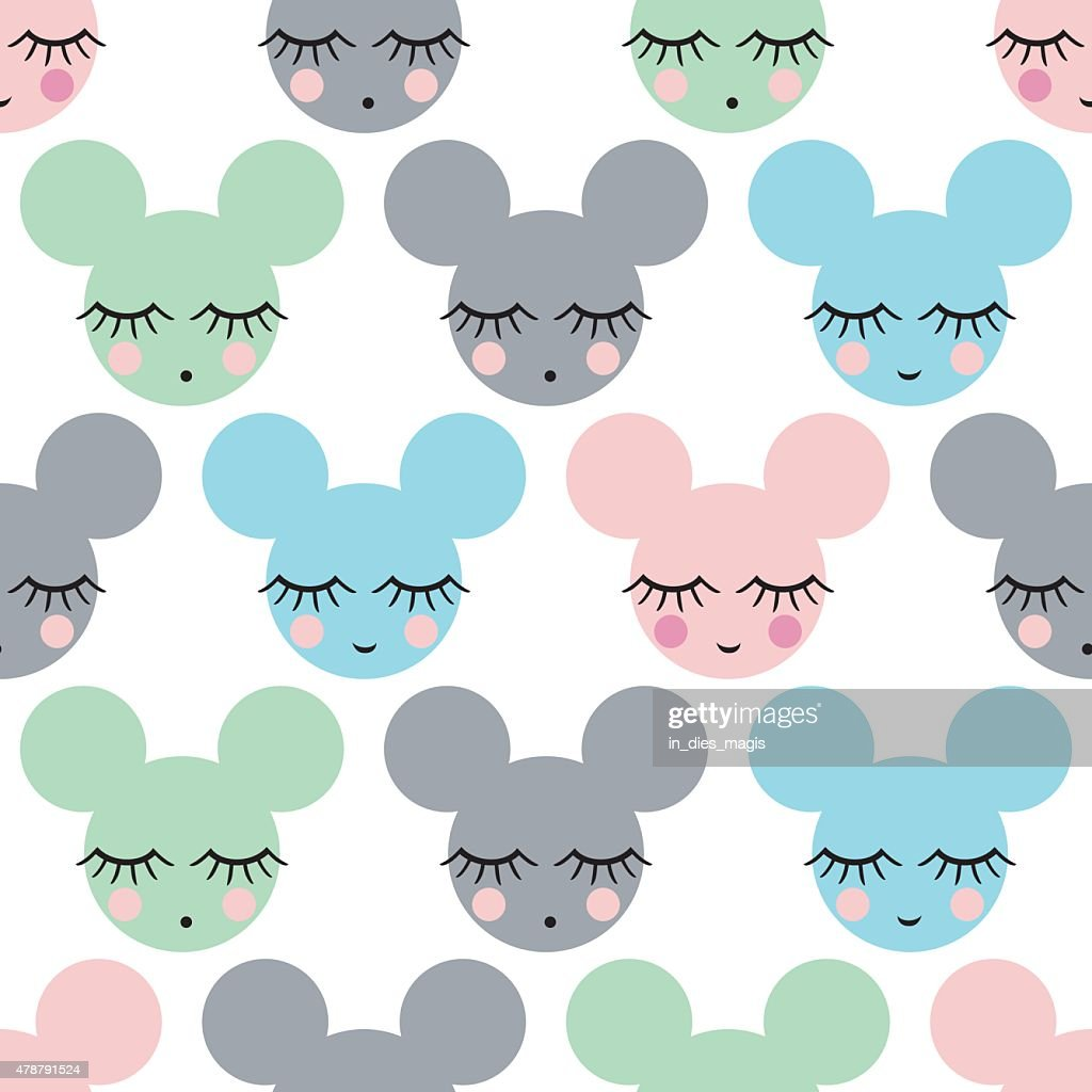 Child drawing style mousy. Seamless pattern with smiling sleeping mouse