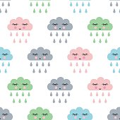 Child drawing style rainy clouds pattern.