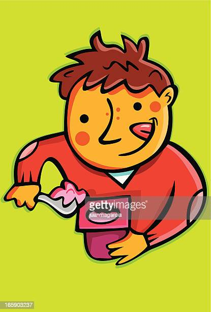 child eating a yogurt. - frozen yogurt stock illustrations, clip art, cartoons, & icons