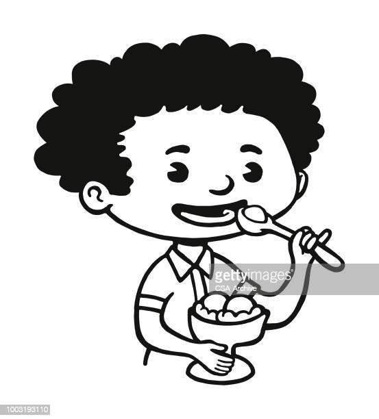 child eating an ice cream sundae - eating ice cream stock illustrations, clip art, cartoons, & icons